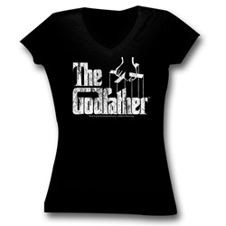 The Godfather - Womens Logo T-Shirt in Black Triblend Vneck