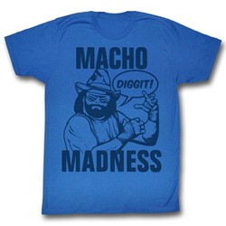 Macho Man - Mens Blue On Blue T-Shirt
