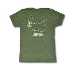 Jaws - Chalkboard Mens T-Shirt In Military Green