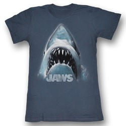 Jaws - Shark Face Womens T-Shirt In Charcoal Heather