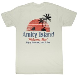 Jaws - Amity Island Mens T-Shirt In Dirty White