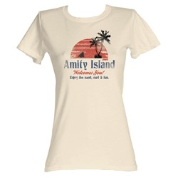 Jaws - Amity Island Womens T-Shirt In Dirty White
