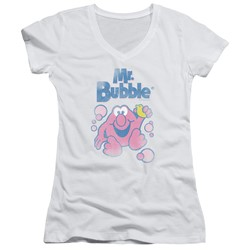 Mr Bubble - Womens 80S Logo V-Neck T-Shirt