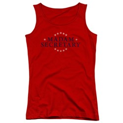 Madam Secretary - Juniors Distress Logo Tank Top