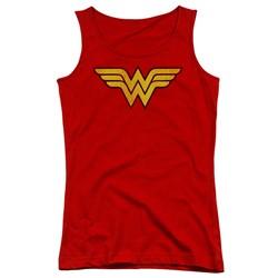 Dc - Juniors Wonder Woman Logo Dist Tank Top