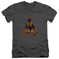 Def Leppard - Mens Distressed Logo V-Neck T-Shirt
