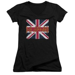 Def Leppard - Womens Union Jack V-Neck T-Shirt