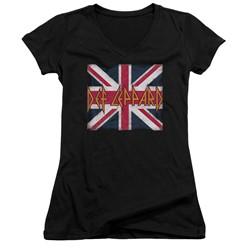 Def Leppard - Womens Union Jack V-Neck T-Shirt