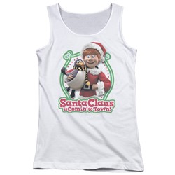 Santa Claus Is Comin To Town - Juniors Penguin Tank Top