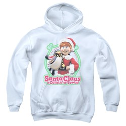 Santa Claus Is Comin To Town - Youth Penguin Pullover Hoodie