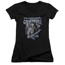 Masters Of The Universe - Womens Straight Outta Grayskull V-Neck T-Shirt
