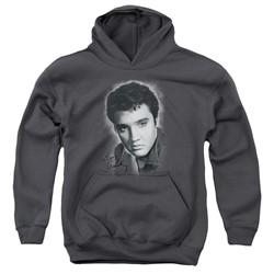 Elvis Presley - Youth Grey Portrait Pullover Hoodie