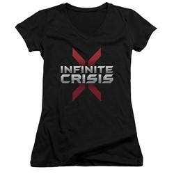 Infinite Crisis - Womens Logo V-Neck T-Shirt