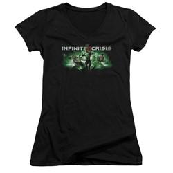 Infinite Crisis - Womens Ic Green V-Neck T-Shirt