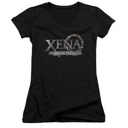 Xena: Warrior Princess - Womens Battered Logo V-Neck T-Shirt