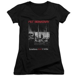 Pet Semetary - Womens Cat Poster V-Neck T-Shirt