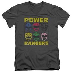 Power Rangers - Mens Ranger Heads V-Neck T-Shirt