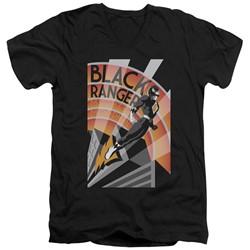 Power Rangers - Mens Black Ranger Deco V-Neck T-Shirt