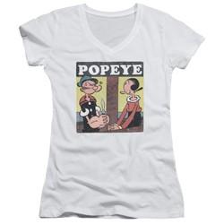 Popeye - Womens Loves Olive V-Neck T-Shirt