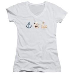 Popeye - Womens Emoji V-Neck T-Shirt