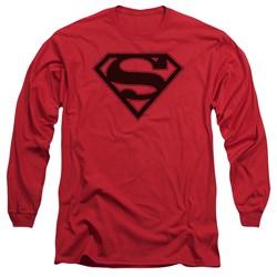 Superman - Mens Red & Black Shield Long Sleeve T-Shirt