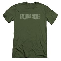 Falling Skies - Mens Distressed Logo Slim Fit T-Shirt