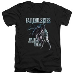Falling Skies - Mens Battle Or Become V-Neck T-Shirt
