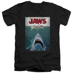 Jaws - Mens Lined Poster V-Neck T-Shirt