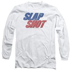 Slap Shot - Mens Blue & Red Logo Long Sleeve T-Shirt