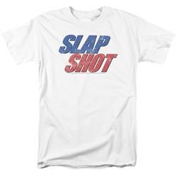 Slap Shot - Mens Blue & Red Logo T-Shirt