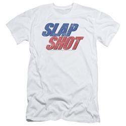 Slap Shot - Mens Blue & Red Logo Slim Fit T-Shirt