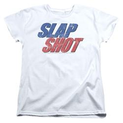 Slap Shot - Womens Blue & Red Logo T-Shirt