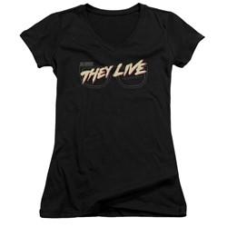 They Live - Womens Glasses Logo V-Neck T-Shirt