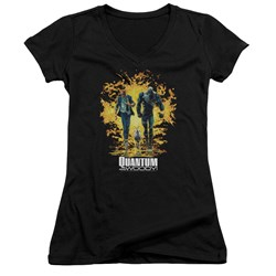 Quantum And Woody - Womens Explosion V-Neck T-Shirt