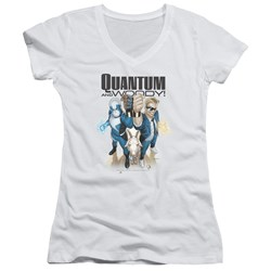 Quantum And Woody - Womens Quantum And Woody V-Neck T-Shirt