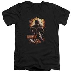 Ninjak - Mens Fiery Ninjak V-Neck T-Shirt