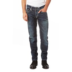 True Religion - Mens Ricky W Flap Super T Straight Jeans