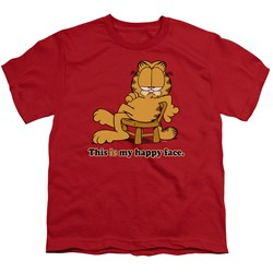 Garfield - Happy Face - Youth Red S/S T-Shirt For Boys