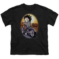 Betty Boop - Wild Biker Big Boys T-Shirt In Black