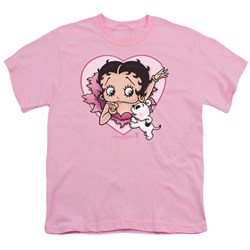 Betty Boop - I Love Betty Big Boys T-Shirt In Pink