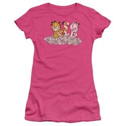 Garfield - Chicks Dig Flowers Juniors T-Shirt In Hot Pink