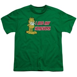 Garfield - I Ate My Homework Big Boys T-Shirt In Kelly Green