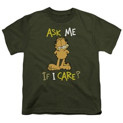 Garfield - Ask Me If I Care Big Boys T-Shirt In Military Green