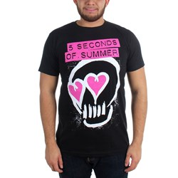 5 Seconds Of Summer - Mens Pink Heart Skull T-Shirt