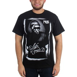 Nas - Mens Posterized B&W T-Shirt in Black