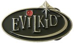 EVIL KID buckle (Black, Red, and Silver Grey)
