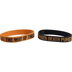 Five Finger Death Punch -  Way Of The Fist Rubber Bracelet Set Accessorie In Black