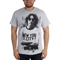 John Lennon - New York Adult T-Shirt in Silver