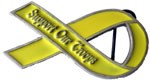 SUPPORT OUR TROOPS buckle (Yellow and Silver Grey)