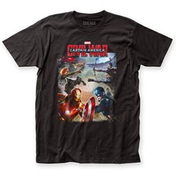 Captain America - Mens Civil War Battle Fitted T-Shirt